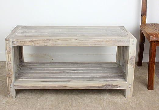 Coffee Table w Shelf 36x16x18inch H Farmed Teak Wood Slat w Livos Agate Grey Oil