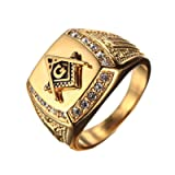 PMTIER Men's Cubic Zirconia Masonic Freemason Gold Plated Stainless Steel Rings Size 11 (Color: gold)