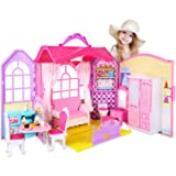Super Joy Doll House Folding Dollhouse with Furniture, Including 70+ Accessories to Create 8 Rooms, Portable Doll's House Playset with Latch & Carrying Handle, Pink (Color: Pink)