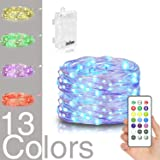 Homestarry LED Fairy Lights Battery Powered with Remote Control, Waterproof Decorative Silver Wire, Bedroom,Patio,Indoor,Party,16.4 ft 50LEDs, Multi Color Changing Lights,13 Colors Option (Color: Multi Color Changing Lights,13 Colors Option, Tamaño: Bedroom,Patio,Indoor,Party,16.4 ft 50LEDs)