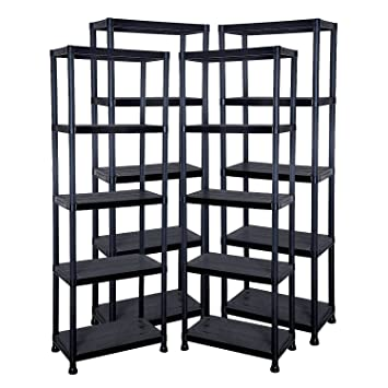 4 x 5 tier plastic shelving shelves storage unit black. Black Bedroom Furniture Sets. Home Design Ideas