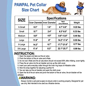 PAWPAL Waterproof Recovery-Collar Inflatable Collar for Small Large Dogs and Cats After Surgery Prevent Touching Stitches Wounds (Extra Large) (Color: Blue, Tamaño: Extra Large)