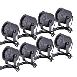 CO-Z 8pcs DMX Controlled LED Stage Lights, 86 RGB Sound Activated Par Stage Effect Lighting for DJ Home Party Festival Bar Club Wedding Church Uplighting (Tamaño: 8 PCS)