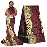 pqdaysun African Lace Fabric 5 Yards 2019 Nigerian Lace French Fabric Embroidered and Rhinestones Guipure Cord Lace F50378 (Wine, 5 Yards) (Color: wine, Tamaño: 5 yards)
