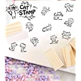 Youkwer 12 Pcs Mini Cute Wooden Rubber Stamps Set For Letters,Diary Craft,Scrapbooking in Matchbox(Vintage Lovely Cat) (Color: Lovely Cat)