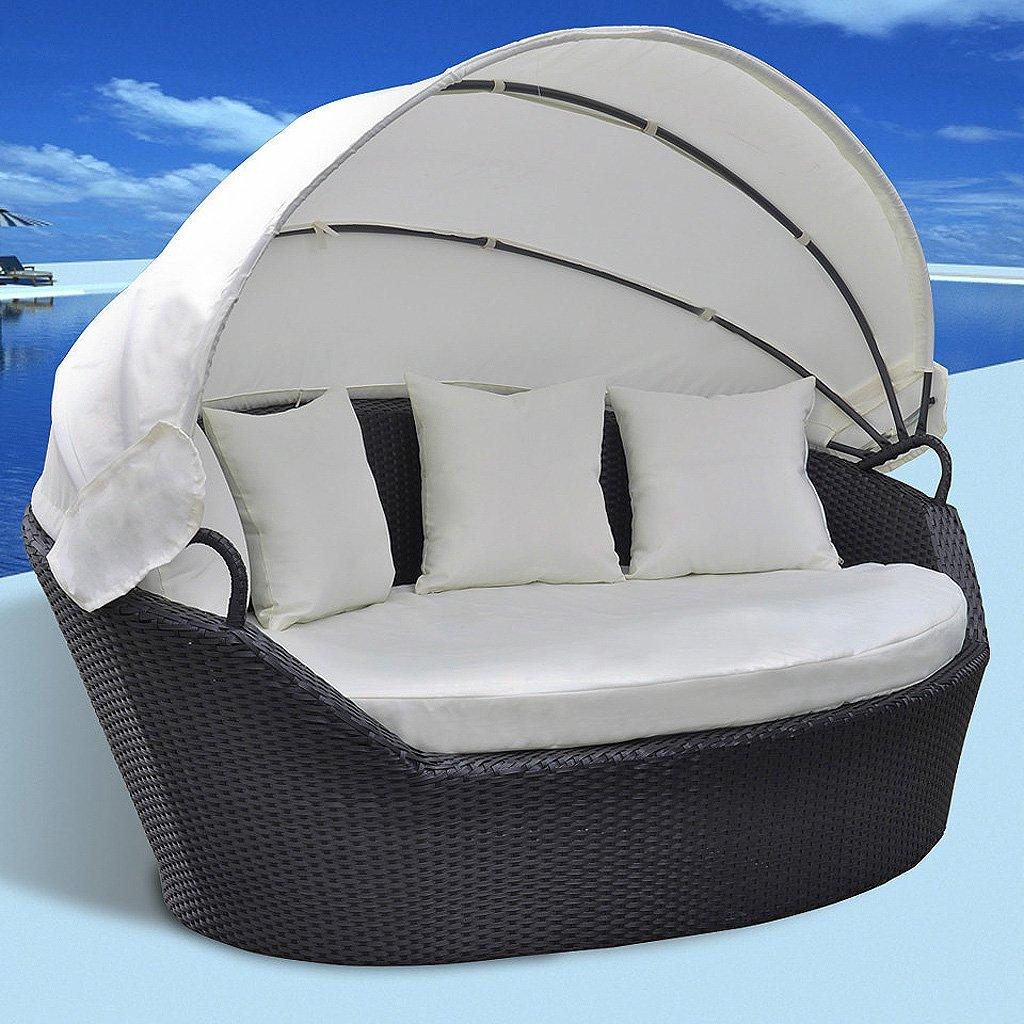 vidaXL Sonneninsel Sonnenliege Sitzgarnitur Lounge Muschel schwarz