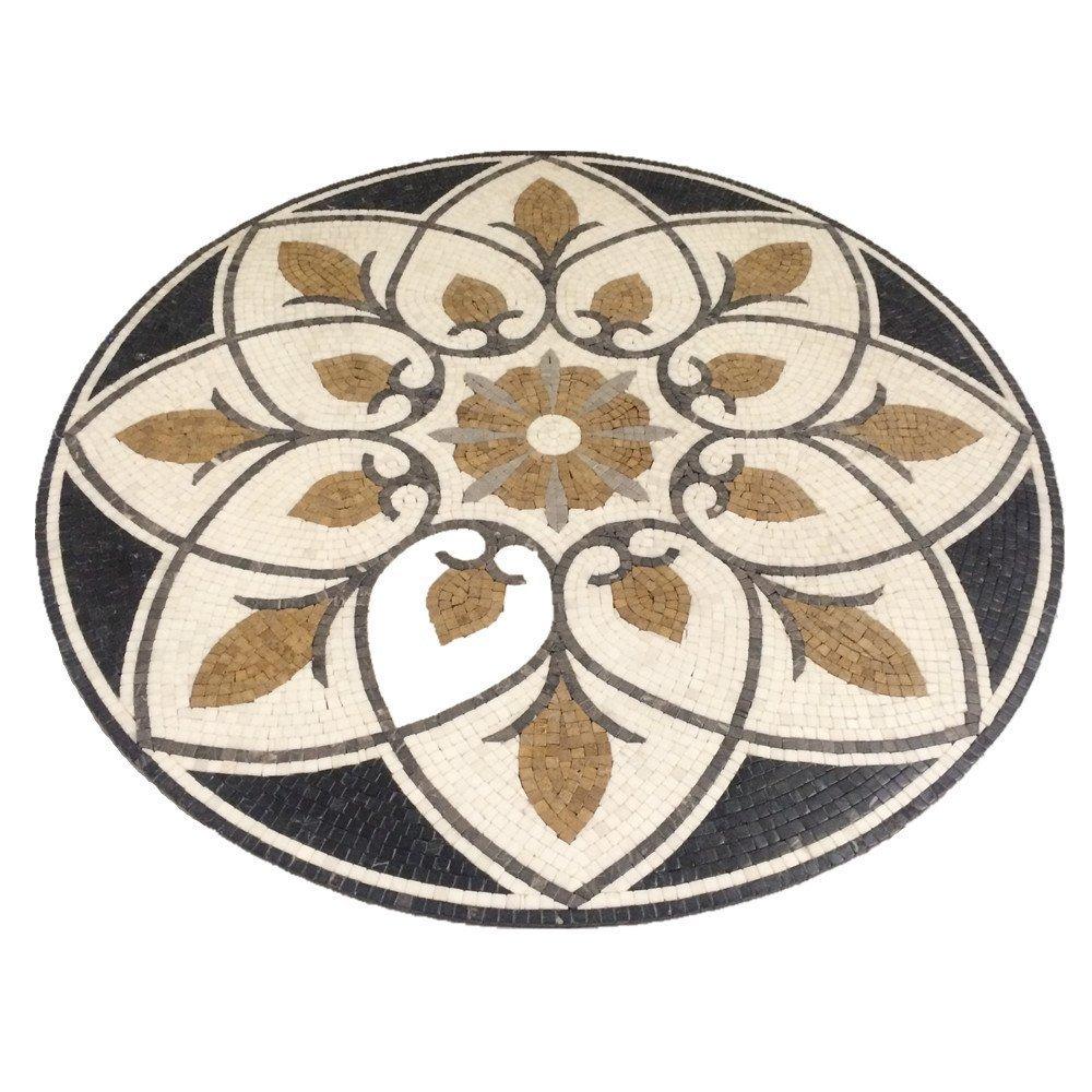 Marble Mosaic Stone Round Medallion Floor Art Tile 36