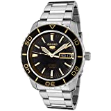Seiko Men's 5' Japanese Automatic Stainless Steel Casual Watch, Color:Silver-Toned (Model: SNZH57) (Color: Black)