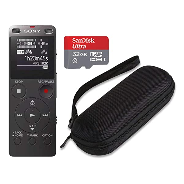 Sony ICDUX560BLK Stereo Digital Voice Recorder with Built-in USB with 32GB microSD and Hard Carrying case (Tamaño: SD Card Bundle + Hard Case)