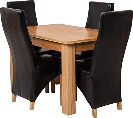 Hermosa Dining Room Set, Wood, Black, 5-Piece
