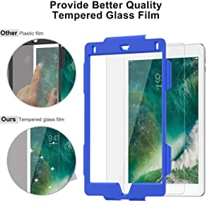 iPad 6th/5th Generation Case, New iPad 9.7 2018/2017 Case, SMAPP, Cases Kids, Shockproof [Full-Body] Rugged Armor Case with 360 Rotating Stand Hand Strap for iPad 6th/5th/Air 2/Pro 9.7(Blue+Black) (Color: Blue+Black)