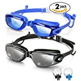 SBORTI 2 Pack Swim Goggles,Adult Swimming Goggles for Men Women Youth Kids,Anti Fog UV Protection,No Leaking,Shatterproof,with Ear Plug(Black,Blue)