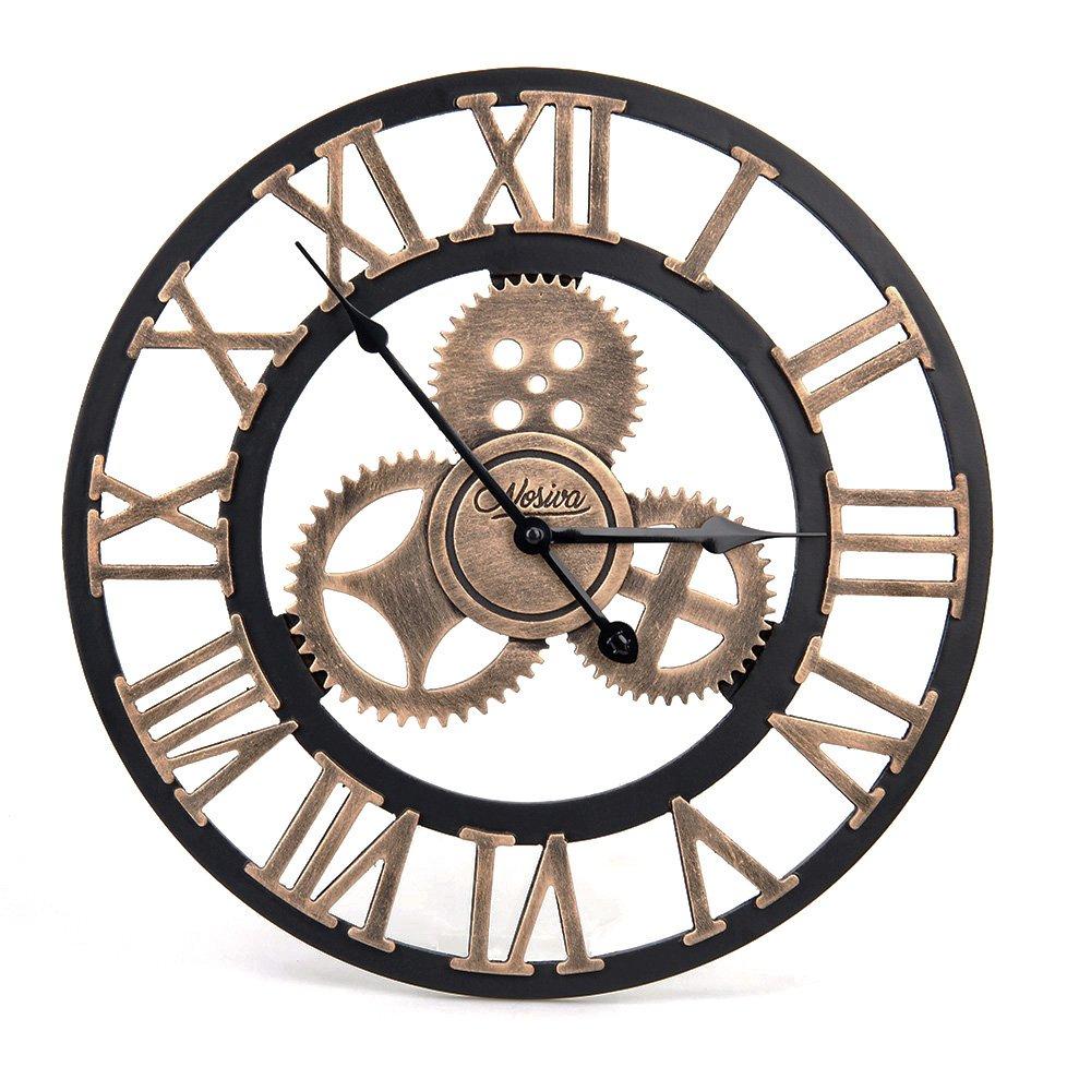 Industrial Wall Clock Handmade 3D Wooden Gear Clock Large Rustic ...