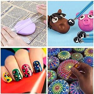 EuTengHao 25Pcs Mandala Dotting Painting Tools Set Pen Dotting Mandala Stencil Kit Ball Stylus Clay Sculpting Carving Tools for Clay Pottery Craft,Painting Rocks, Coloring, Drawing, Nail Art Painting