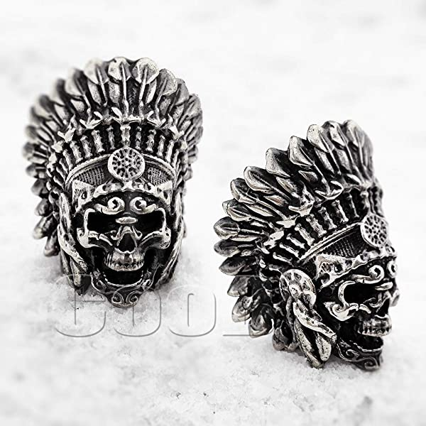 CooB EDC Paracord Bead Pendant, Charm Zipper Pul. DIY Hand-Casted Amazing Beads Pendants 45 Models for Paracord Bracelet Lanyard Keychain Predator, Darth Vader, Cheshire CAT etc (Indian Chief) (Color: Indian Chief)
