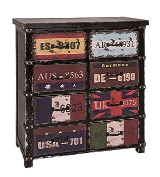 Schubladenkommode bzw. Kommode mit 8 Schubladen in schwarz-vintage; Maße (B/T/H) in cm: 73 x 34 x 87