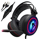 [Newest 2019 Upgraded] Gaming Headset for Xbox One, PS4, PC - 7.1 Best Surround Stereo Sound, Noise Cancelling Mic, 3.5mm Soft Breathing Over-Ear Game Headphones – USB LED Laptop, PS3 (Tamaño: Gaming Headset)