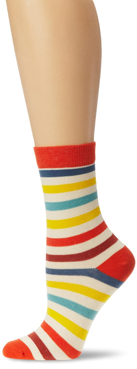 PACT Women's All Over Tomato Stripe Crew Sock