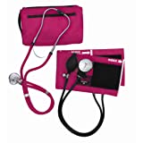 MABIS MatchMates Aneroid Sphygmomanometer and Sprague Rappaport Stethoscope Combination Manual Blood Pressure Kit with Calibrated Nylon Cuff, Magenta (Color: Magenta, Tamaño: One)