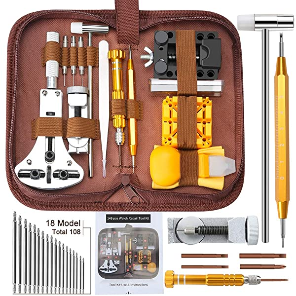 Watch Repair Kit, E·Durable Professional Spring Bar Tool Set 149 in 1 Watch Battery Replacement Tool Kit with Mannual and Carrying Bag Durable Watch Repair Tool Screwdriver Spring Bar Tool Set (Color: 149 IN 1)