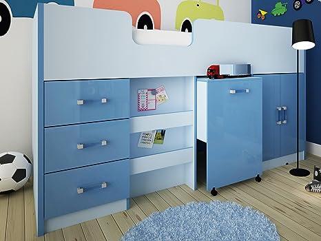 Ottawa Caspian High Gloss Midsleeper Letto con cassetti, Libreria, scrivania & credenza, colore: blu o Rosa, due tonalità blu
