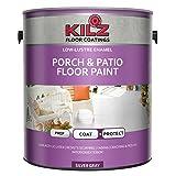 KILZ L573611 Interior/Exterior Enamel Porch and Patio Latex Floor Paint, Low-Lustre, Silver Gray, 1-Gallon, 1 Gallon, 4 l (Color: Silver/Gray, Tamaño: 1 Gallon)
