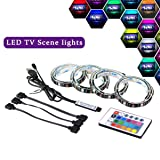 Simfonio LED Light Strip, 2M LED TV Backlight Bias Lighting with Remote Controller for 40 To 60 Inch HDTV,PC Monitor (Color: 2m- led strip)