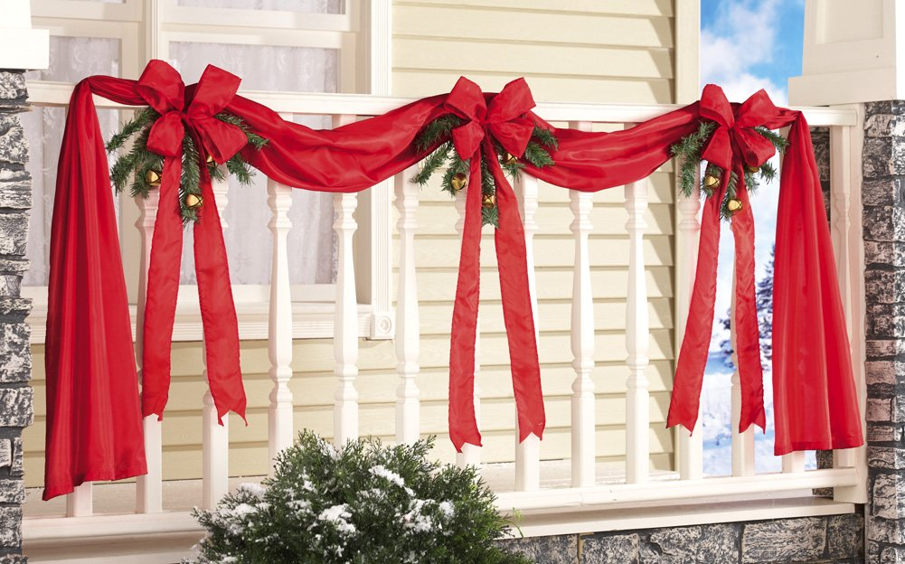 Red Ribbon & Bows Christmas Holiday Fence Decoration