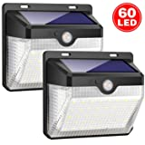 Solar Lights Outdoor [60 LEDs], Gixvdcu Solar Powered Motion Sensor Lights Waterproof Security Wireless Wall Lights with 270° Wide Angle for Outdoor, Garden, Patio Yard, Deck Garage, Fence (2 Pack) (Color: 60 Led, Tamaño: 60 LED)