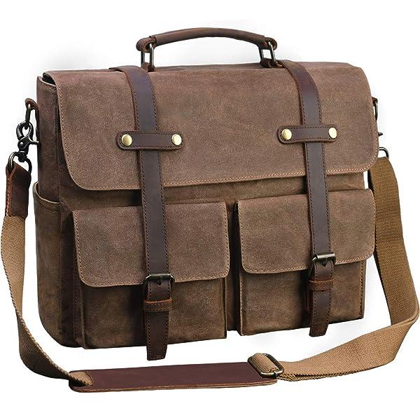 Mens Laptop Messenger Bag Waterproof Computer Leather Satchel Briefcases Vintage Canvas Shoulder Bag Large Work Bag Brown 15.6 inch