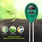 Lailieu Soil Test Kit 3-in-1 Soil Tester with Moisture,Light and PH Meter, Indoor/Outdoor Plants Care Soil Sensor for Home and Garden, Farm, Herbs & Gardening Tools(No Battery Needed) (Color: Green)