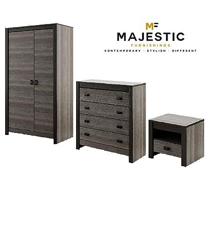 Denver grey mdf 3 piece bedroom set - bedside,chest, wardrobe