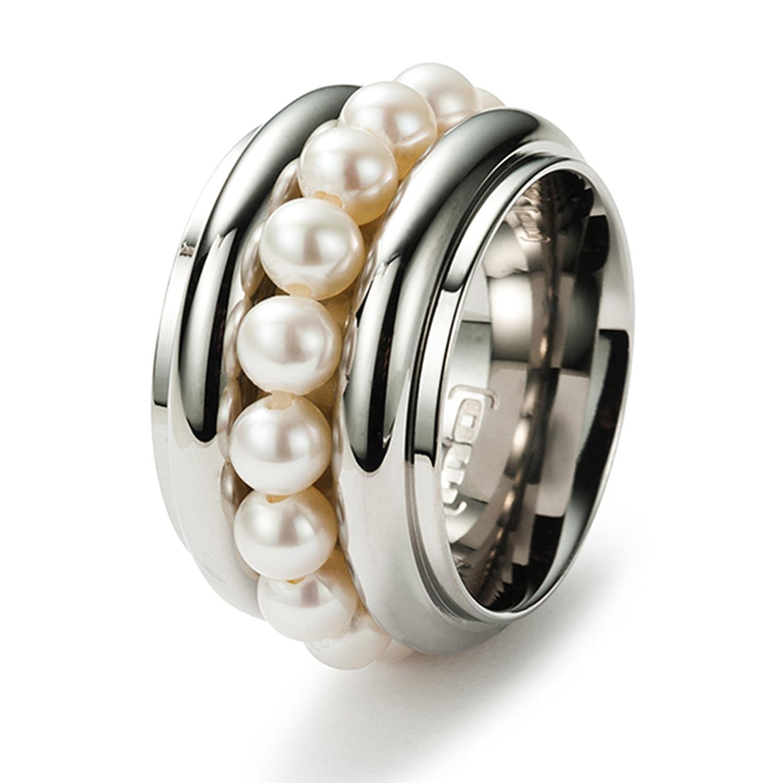 Monomania Damen-Ring Edelstahl 15 Süßwasserperlen weiß 25452 günstig