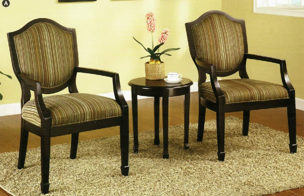 3 Pc Set of 2 Accent Chairs Table FurnitureNdecor