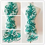 3D beaded flower sequence lace applique motif sewing bridal wedding 3in1 20cmx72cm (Jade Green) (Color: Jade Green)