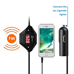 JETech Wireless FM Transmitter Radio Car Kit for Smart Phones Bundle with 3.5mm Audio Plug and Car Charger, Black (Color: Black)