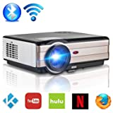 Bluetooth Projector WiFi 4200 Lumen Android 6.0 Zoom Function, LCD LED Smart Video Projectors Home Theater Support HD 1080P Airplay HDMI USB RCA VGA AV for Smartphone DVD PC Gaming Outdoor Movie (Color: bluetooth, wifi, projector 4200 lux)