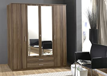 Omega Range 4 Door, 2 Drawer Wardrobe-Walnut Finish