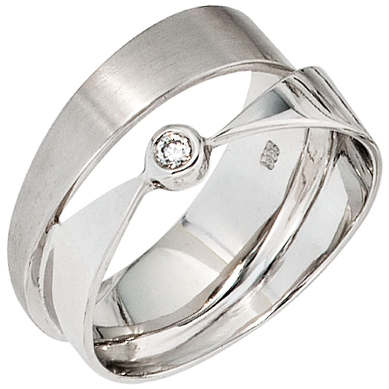 Damen-Ring 585 Weißgold 1 Diamant-Brillant günstig online kaufen