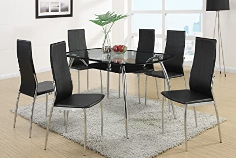 Poundex F2225 & F1277 Black Painted Glass & Leatherette Chairs Dining Set