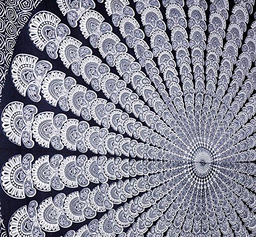 blanc noir motif floral indien hippie d coration murale. Black Bedroom Furniture Sets. Home Design Ideas