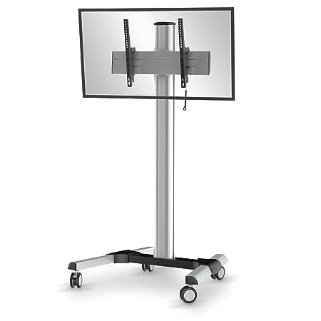 conecto TV Standfuß / Rollwagen SA-CC50164 fur LCD/LED/Plasma Bildschirme von 37 bis 70 Zoll, neigbar, max. Tragkraft 80kg, VESA 600x400mm, Aluminium, silber/schwarz