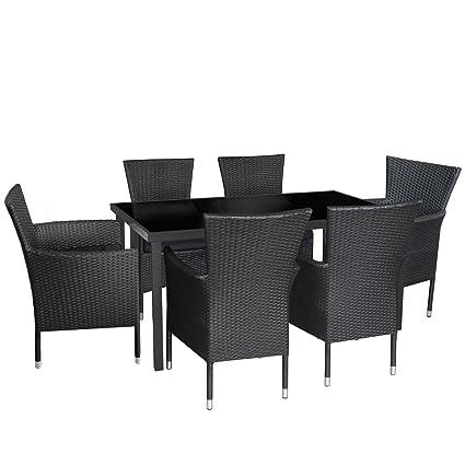 7tlg. Gartengarnitur Gartenmöbel Set Glastisch 150x90cm mit schwarzer Tischglasplatte stapelbare Rattansessel inkl. Sitzkissen Sitzgruppe Terrassenmöbel