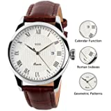 Mens Analog Quartz Wrist Watch - Classic Casual Watch with Brown Leather Band Large Face Watches for Men (Color: White, Tamaño: Medium)