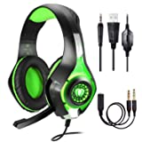 BlueFire Stereo Gaming Headset for Playstation 4 PS4 Over-Ear Headphones with Mic and LED Lights for Xbox One, PC, Laptop(Green) (Color: Green)