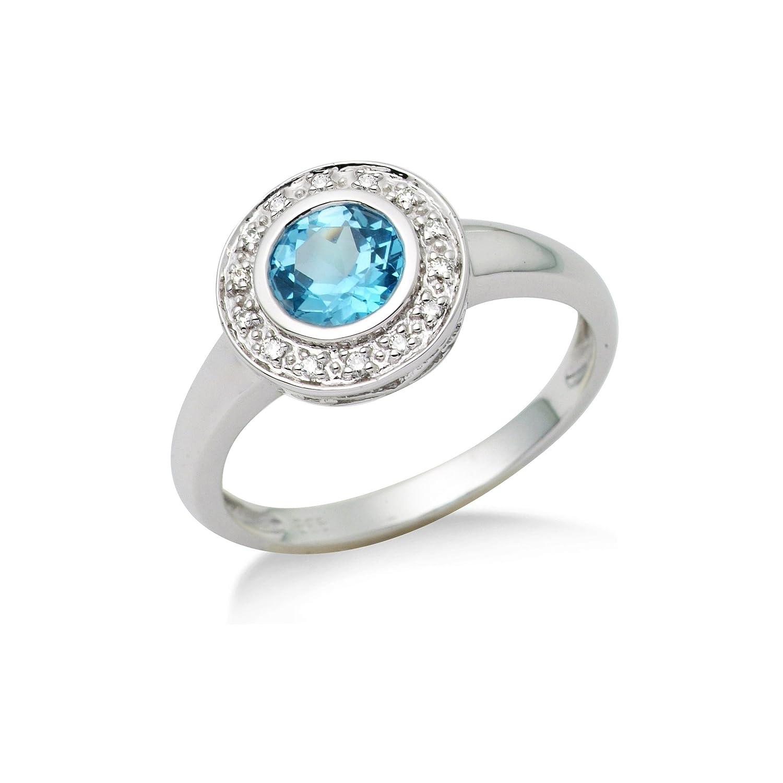 Miore Damen-Ring 14 Karat 585 Weißgold Blau Topas 14 Brillanten 0,07ct MG4003RM als Geschenk