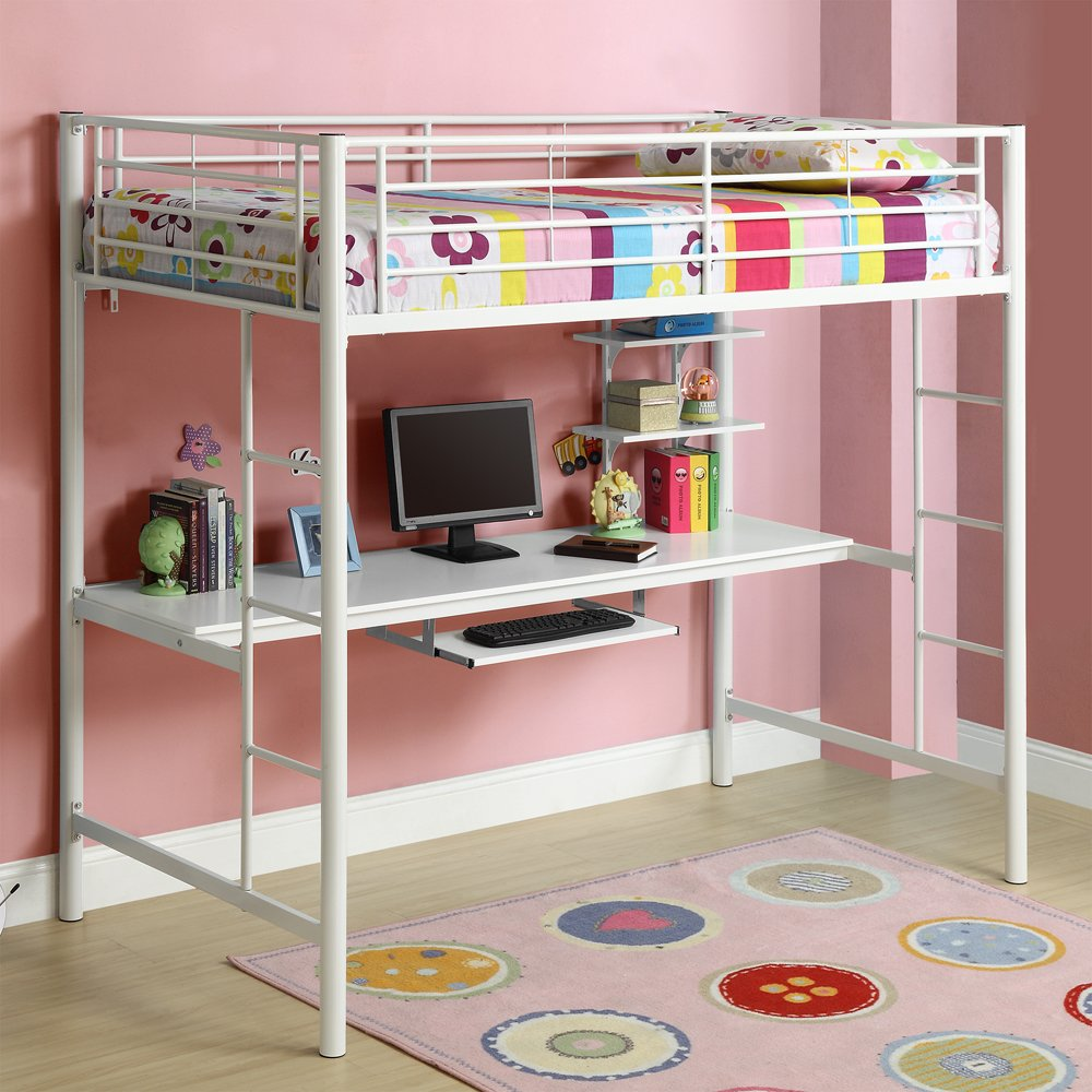 White Metal Loft Bed with Desk 1000 x 1000