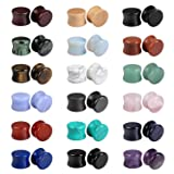 Evevil Wood Mixed Stone Plugs 18 Pairs/36 Pieces Set 9/16