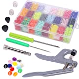 Glarks 384Pcs T5 KAM Snaps Plastic Buttons with Snaps Press Pliers Set for Clothes Sewing, Bibs, Rain Coat Crafting