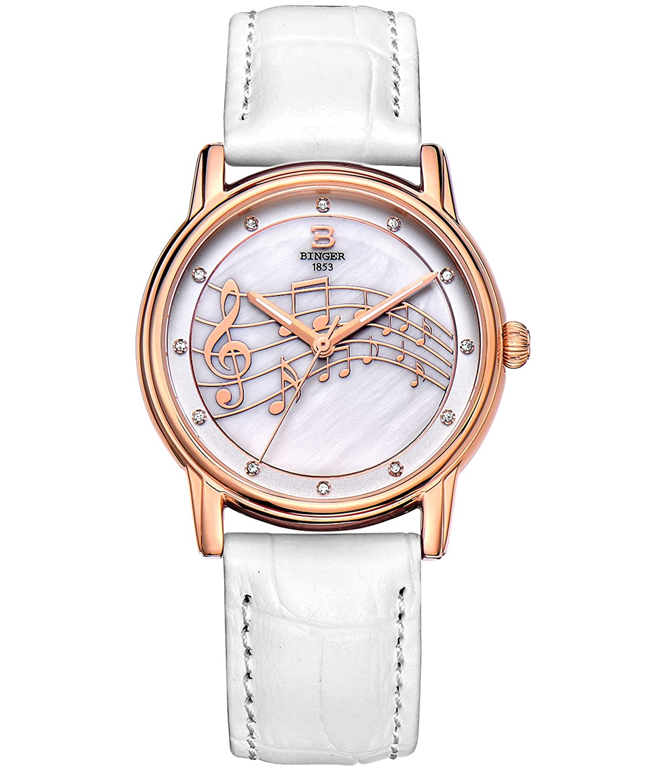 BINGER Women Mother Pearl Dress Watch Rose Gold Sapphire Crystal Music Note White Leather Strap 553L-3W